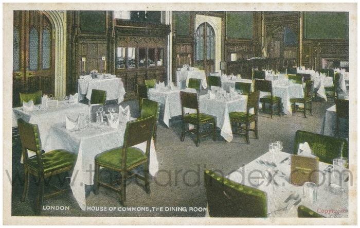 Postcard front: London. House of Commons, The Dining Room.