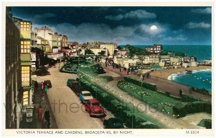 Postcard front: Victoria Terrace and Gardens, Broadstairs, By Night.
