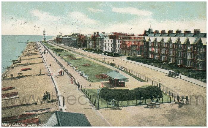Postcard front: Tower Gardens, Herne Bay.