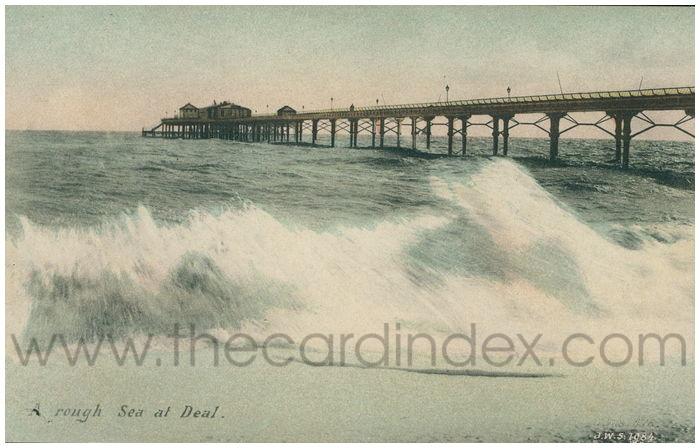 Postcard front: A rough Sea at Deal.