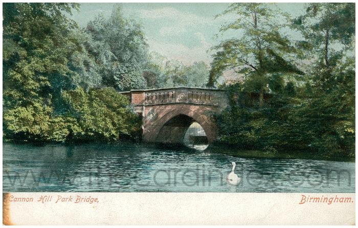 Postcard front: Cannon Hill Park Bridge, Birmingham.