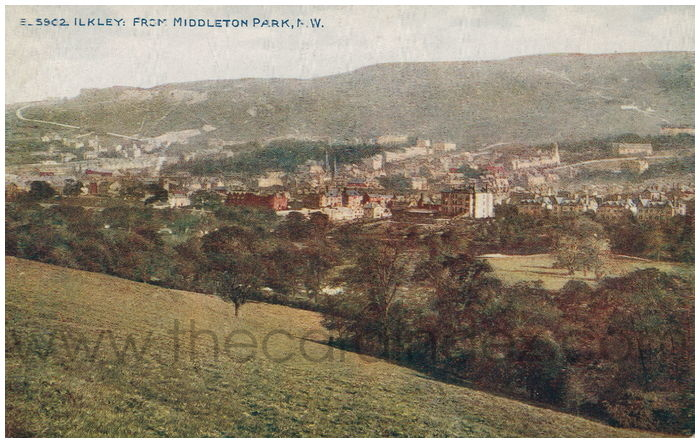 Postcard front: Ilkley: From Middleton Park, N.W.