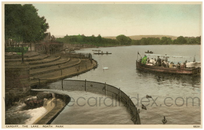 Postcard front: Cardiff. The Lake, Roath Park