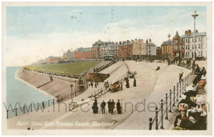 Postcard front: North Shore from Princess Parade, Blackpool.