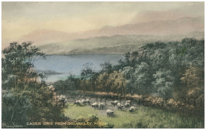 Postcard front: Cader Idris from Dolgelley Road