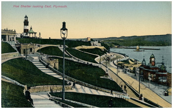 Postcard front: Hoe Shelter looking East, Plymouth.