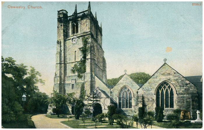 Postcard front: Oswestry Church.