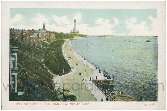 Postcard front: New Brighton. The Sands and Promenade.