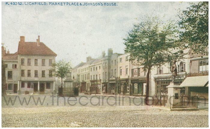 Postcard front: Lichfield: Market Place & Johnson's House.