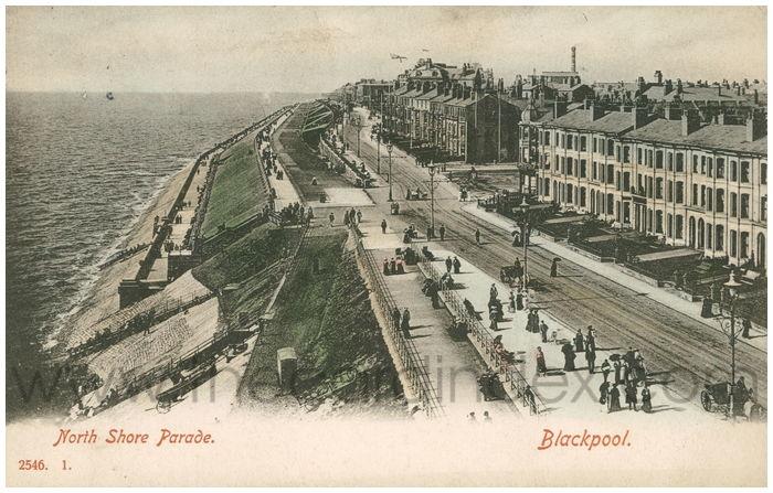 Postcard front: North Shore Parade. Blackpool.