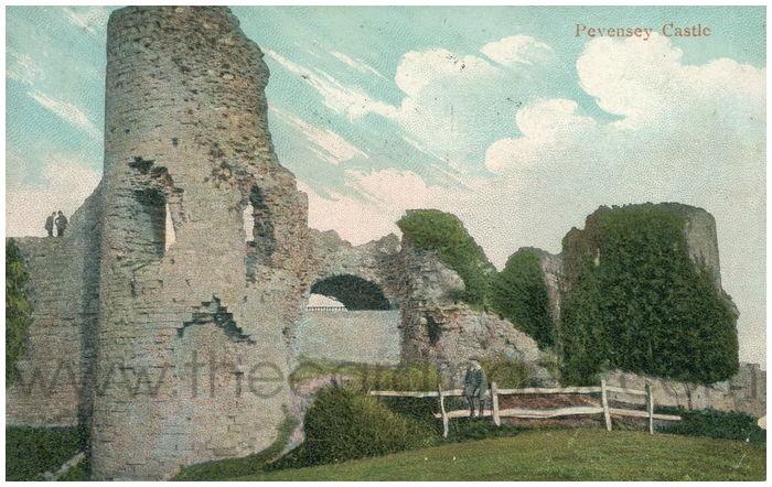 Postcard front: Pevensey Castle