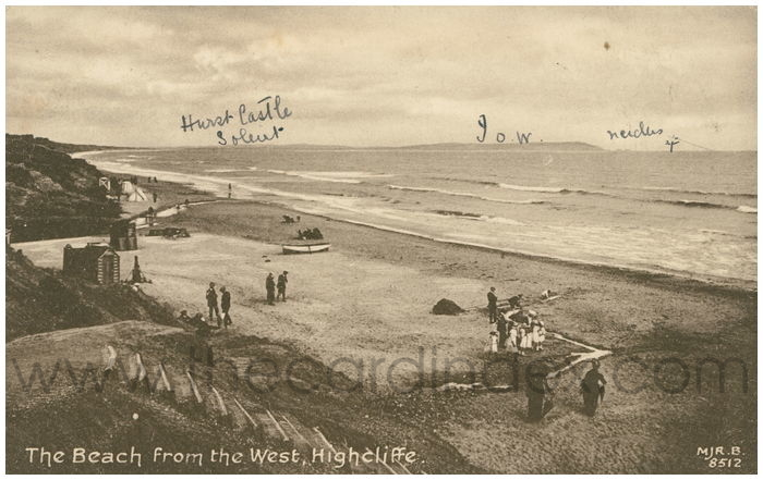 Postcard front: The Beach from the West, Highcliffe.