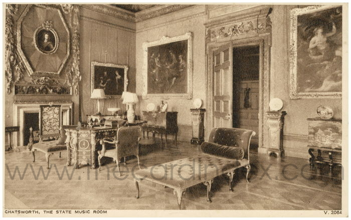 Postcard front: Chatsworth, The State Music Room