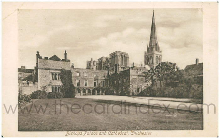 Postcard front: Bishops Palace and Cathedral, Chichester