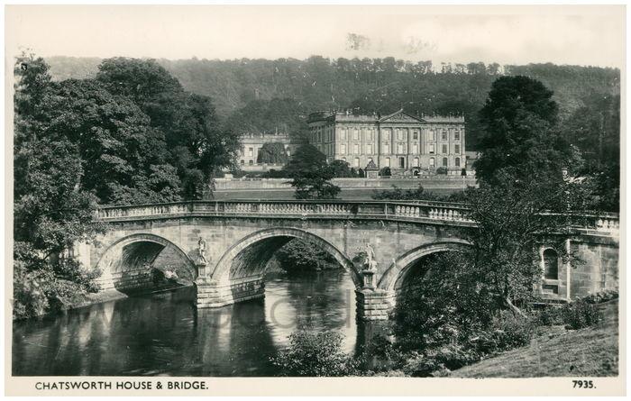 Postcard front: Chatsworth House & Bridge.