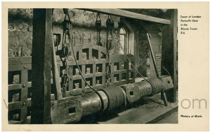 Postcard front: Tower of London Portcullis Gear in the Bloody Tower.