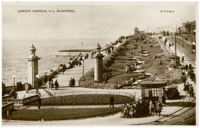 Postcard front: Sunken Gardens, N.S. Blackpool.