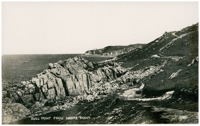 Postcard front: Bull Point from Morte Point.
