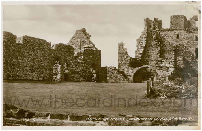 Postcard front: Smithy and Stables, Dunnottar Castle, Stonehaven.