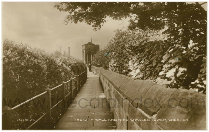 Postcard front: The City Wall and King Charles Tower, Chester.