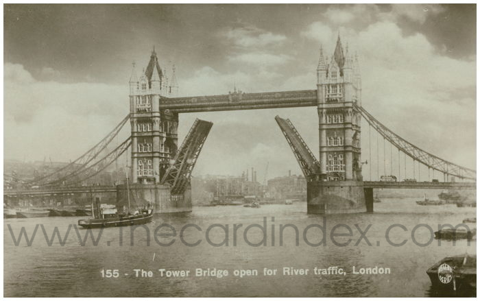 Postcard front: The Tower Bridge open for River traffic, London