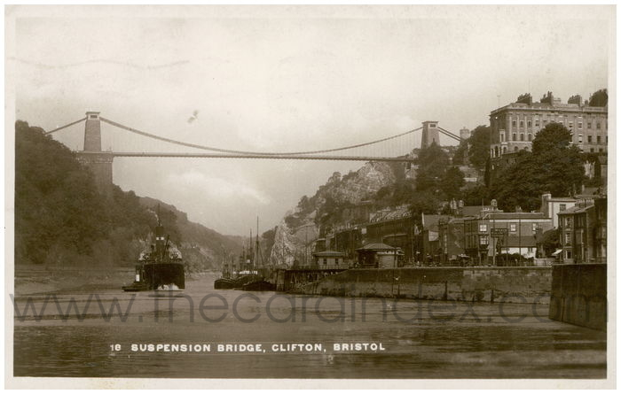 Postcard front: Suspension Bridge, Clifton, Bristol