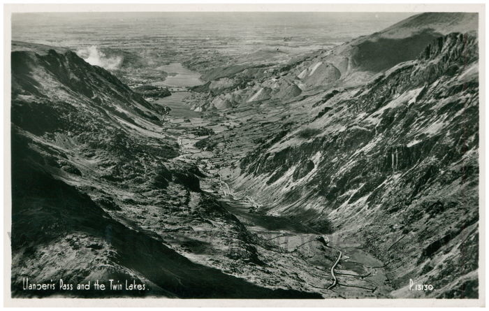 Postcard front: Llanberis Pass and the Twin Lakes.