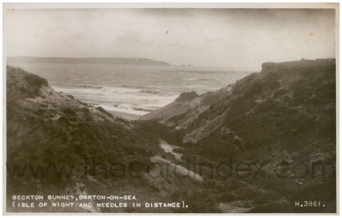 Postcard front: Beckton Bunney, Barton-on-Sea (Isle of Wight and Needles in Distance).