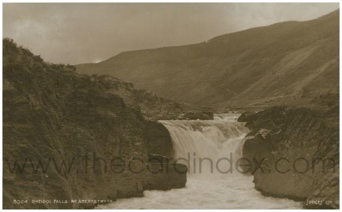 Postcard front: Rheidol Falls. Nr. Aberystwyth.