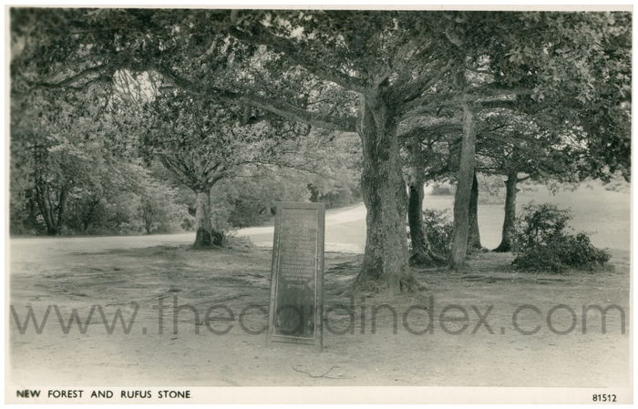 Postcard front: New Forest and Rufus Stone