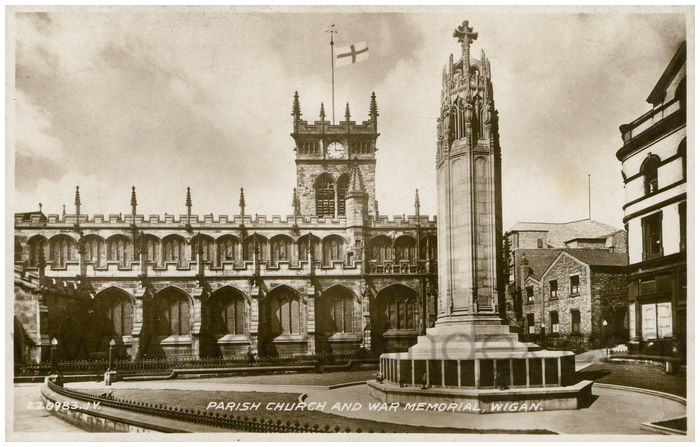 Postcard front: Parish Church and War Memorial, Wigan.