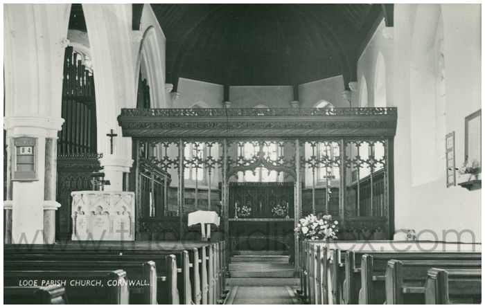 Postcard front: Looe Parish Church, Cornwall.