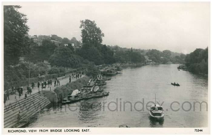 Postcard front: Richmond. View from the Bridge Looking East.