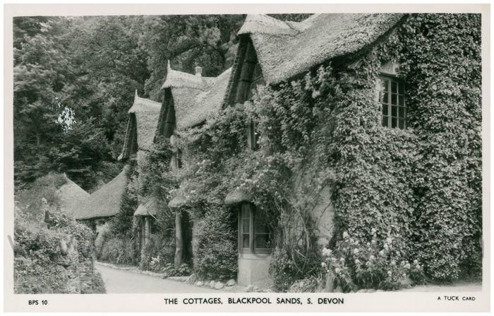 Postcard front: The Cottages, Blackpool Sands, S. Devon