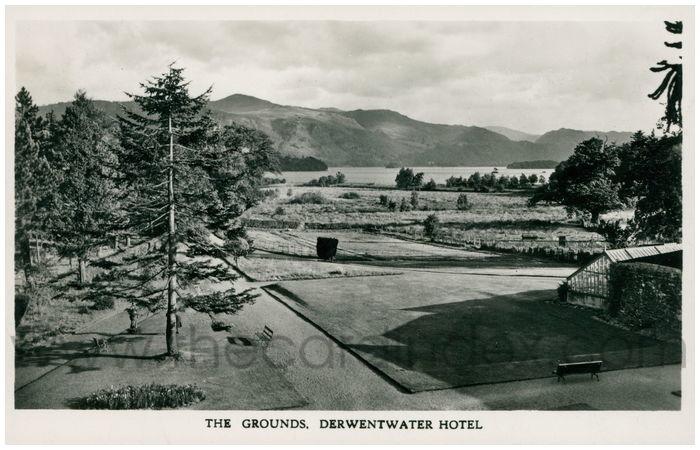 Postcard front: The Grounds. Derwentwater Hotel