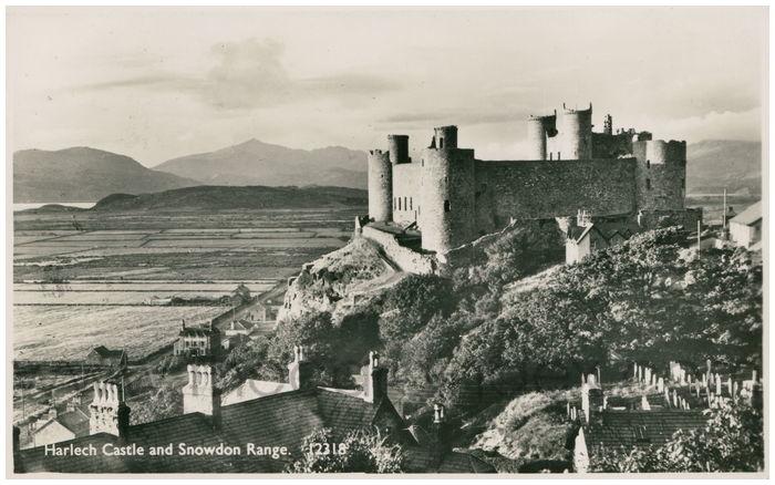 Postcard front: Harlech Castle and Snowdon Range.