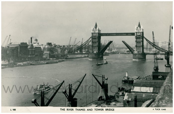Postcard front: The River Thames and Tower Bridge