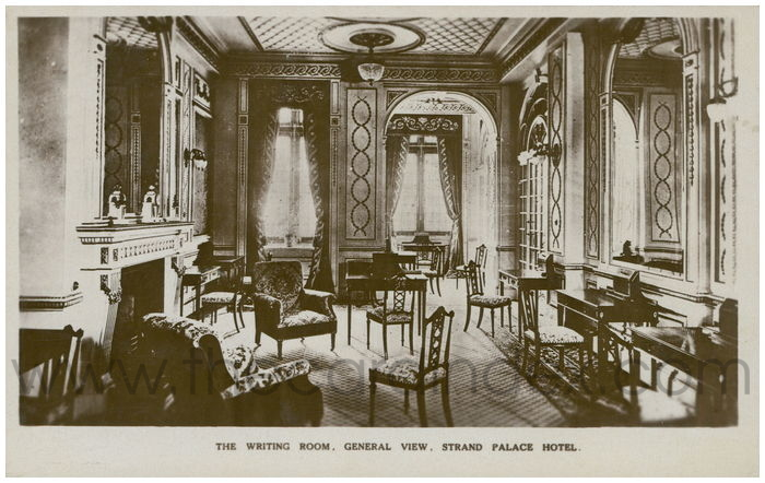 Postcard front: The Writing Room. General View. Strand Palace Hotel.