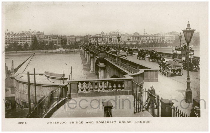 Postcard front: Waterloo Bridge and Somerset House, London