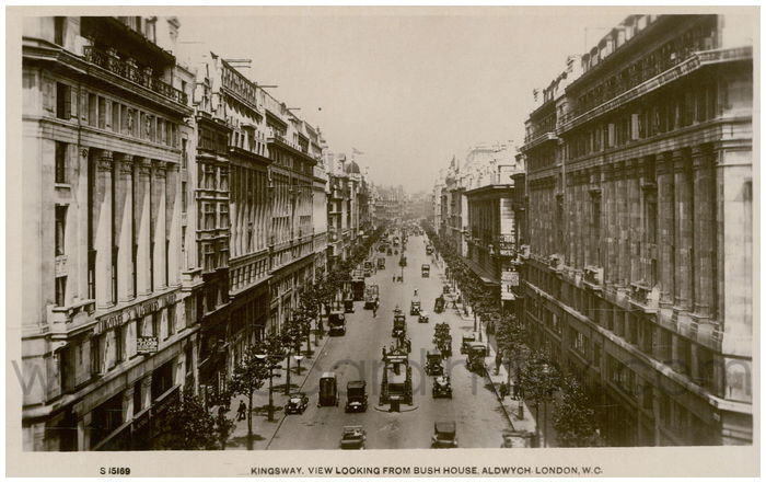 Postcard front: Kingsway, View Looking from Bush House, Aldwych, London, W.C.