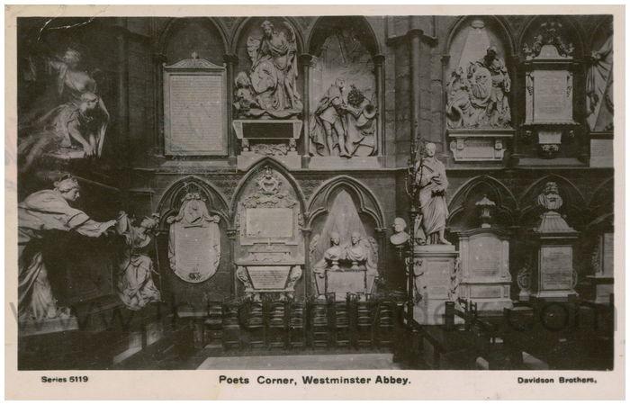 Postcard front: Poets Corner, Westminster Abbey.