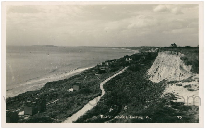 Postcard front: Barton-on-Sea looking W.