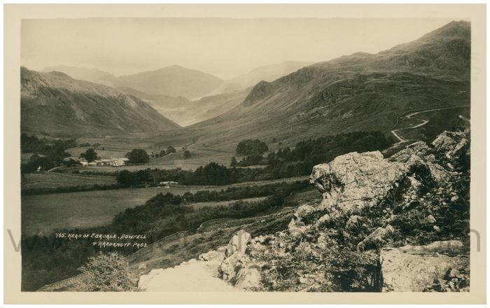Postcard front: Herd of Eskdale, Bowfell & Hardknott Pass.