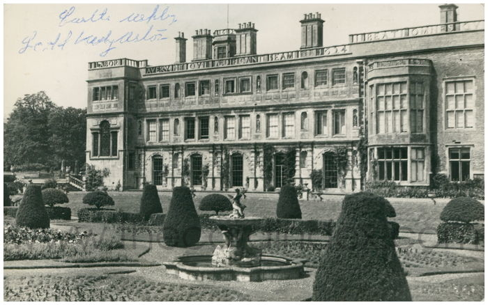 Postcard front: Castle Ashby, East Front, from Terrace