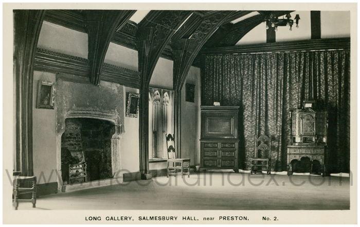 Postcard front: Long Gallery, Salmesbury Hall, near Preston.