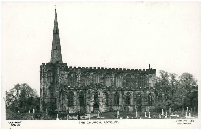Postcard front: The Church, Astbury