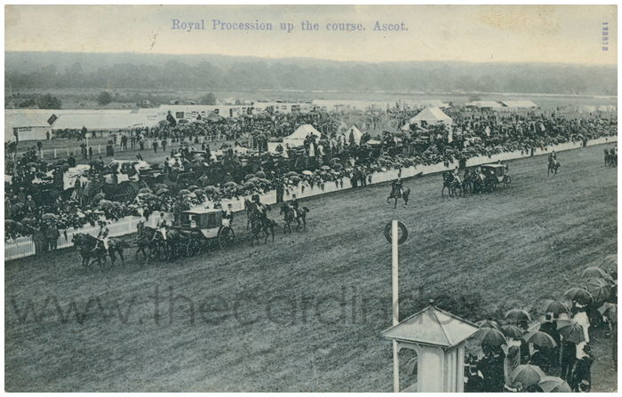 Postcard front: Royal Procession up the course. Ascot.