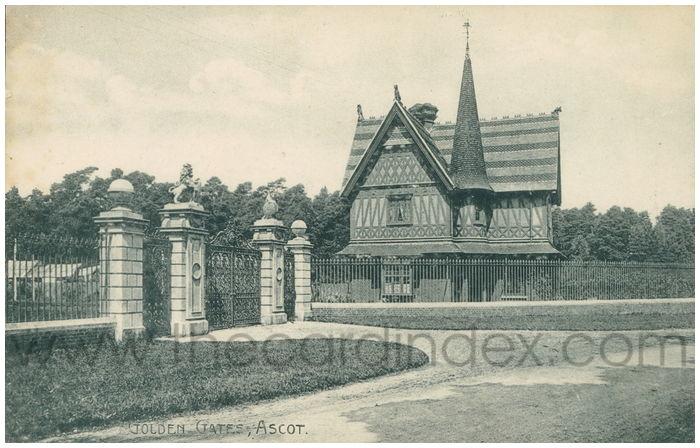 Postcard front: Golden Gates, Ascot.