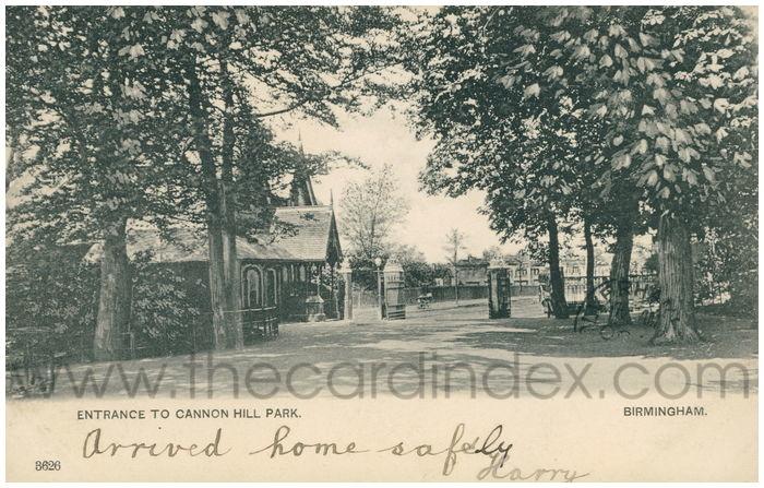 Postcard front: Entrance to Cannon Hill Park. Birmingham.
