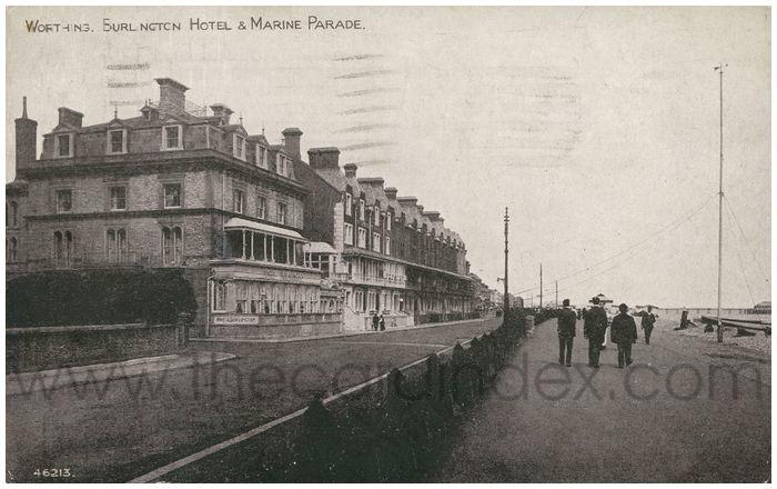 Postcard front: Worthing, Burlington Hotel & Marine Parade.
